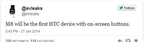 Smartphone HTC M8 (One in 2014) is with on-screen buttons?
