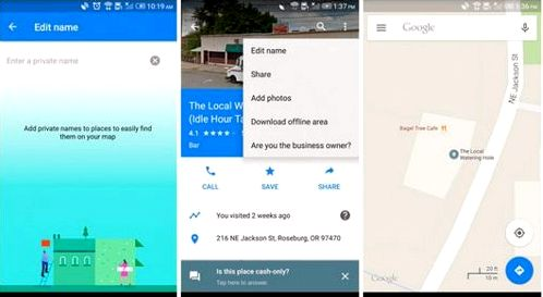 Maps v9.12 adds the & laquo; your Chronicle & raquo; and user names of your locations