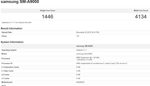 Galaxy A9 again appeared in GeekBench