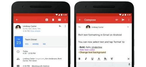 Gmail received text formatting