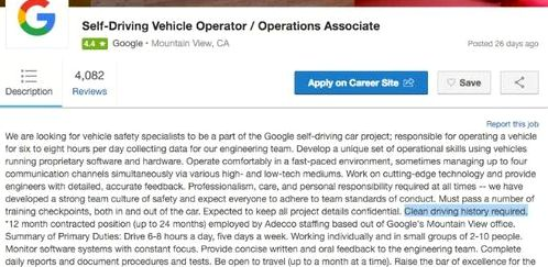 Google is looking for operators to the Auto Google