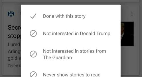 Google Now can block news sites