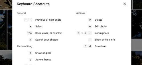 Google Photos received hotkeys