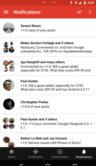 Google+ v6.9 was a change in the curtain notifications