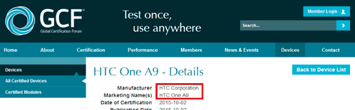 HTC A9 passed FCC and GCF certification