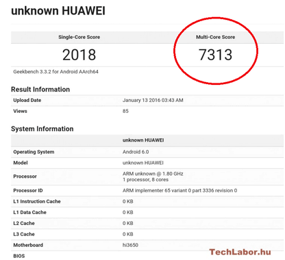 Huawei P9 tested GeekBench
