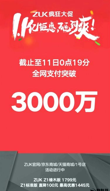 Lenovo sold ZUK Z1 30 million yuan for 19 seconds