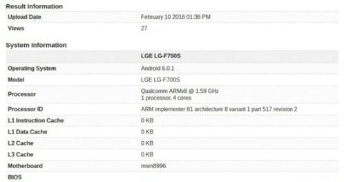 LG G5 appeared in GeekBench