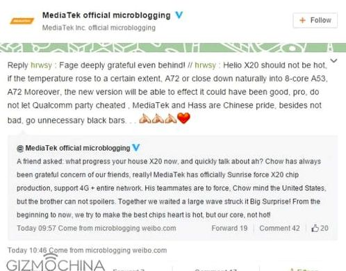 MediaTek denied rumors of overheating Helio X20