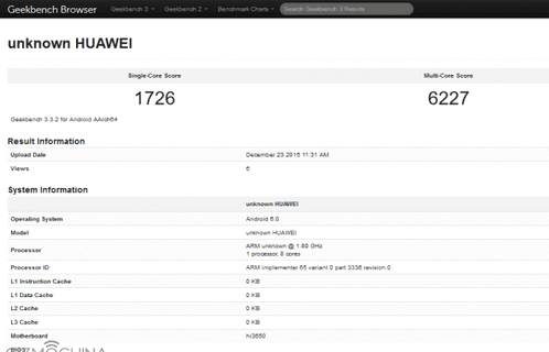 The new device from Huawei tested in GeekBench