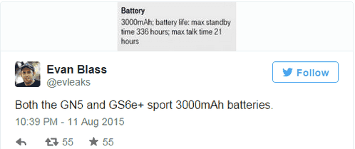 Volume 5 Battery Galaxy Note and Galaxy S6 Edge + became known