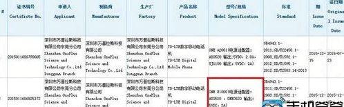 OnePlus E1000 TENAA passed certification