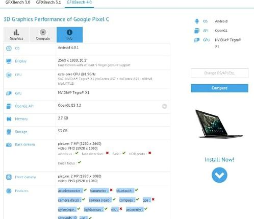 Pixel C appeared in benchmarks