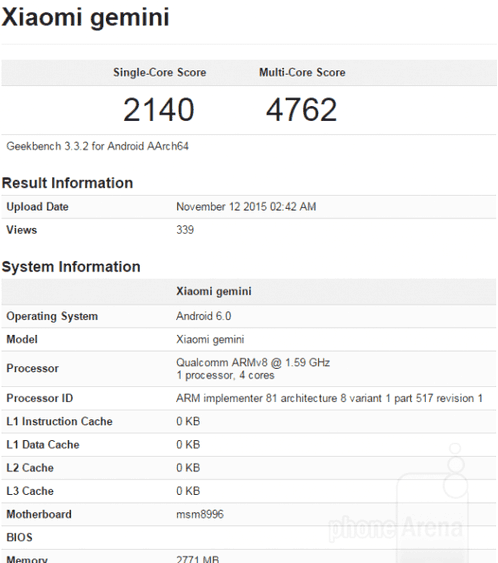 Estimated Xiaomi Mi5 appeared in GeekBench