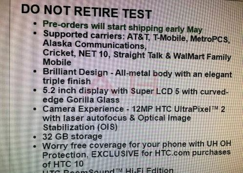 Pre-order HTC will begin no earlier than 10 May