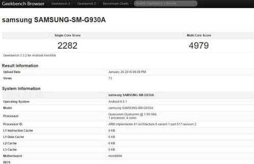 Samsung Galaxy S7 for AT & amp; T appeared in GeekBench