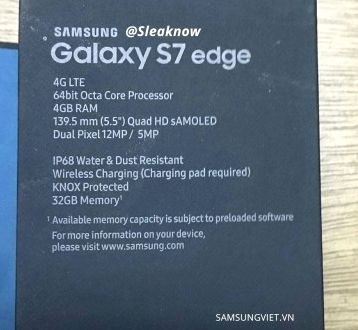 The leaked photo Galaxy S7 Edge box