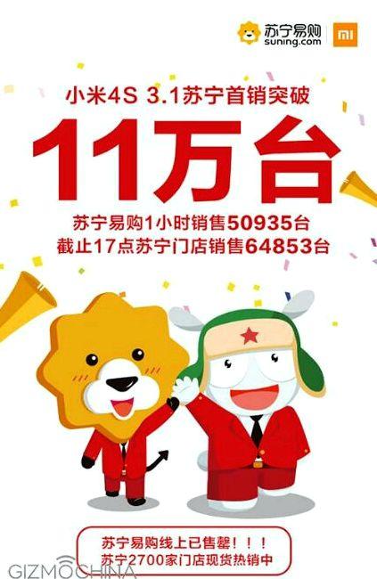 Xiaomi Mi 4S showed good sales results