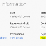 Button complain about the application in a web version of Google Play